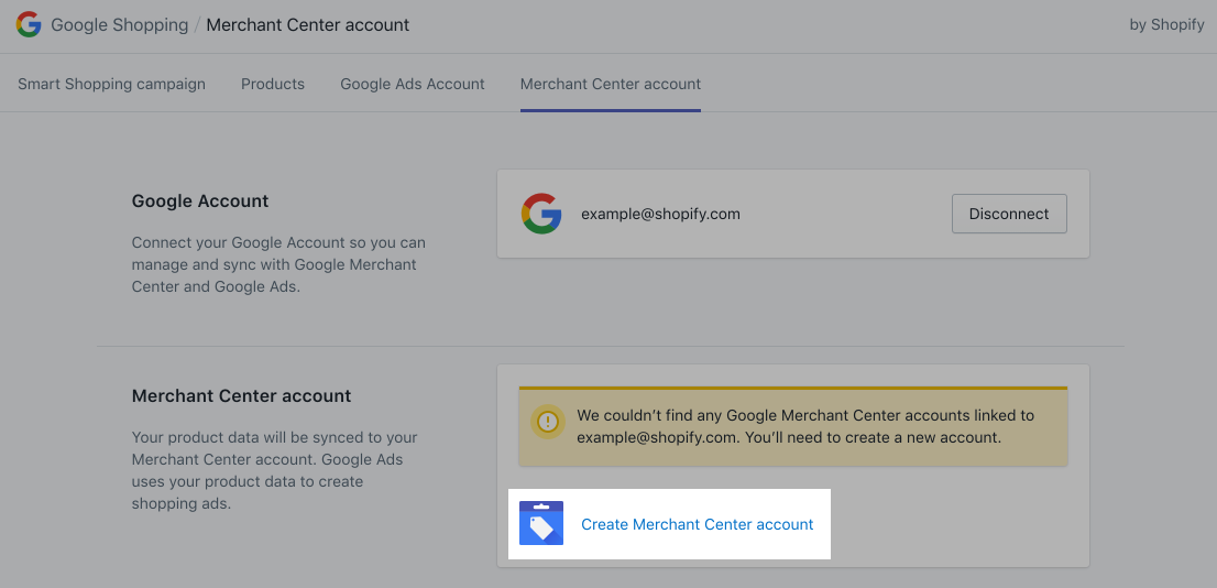 Google Shopping App with no Google Merchant Center account