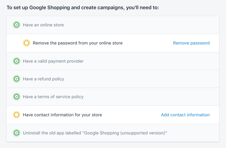 Google Shopping app requirements checklist