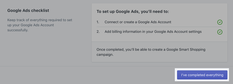 Google Ads completed everything button