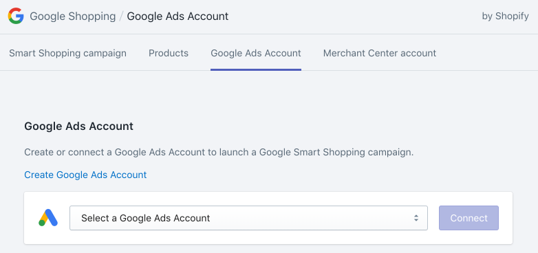 Select a Google Ads Account drop-down