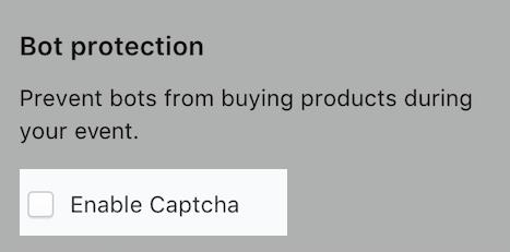 reCaptchaを有効にしたイベントのスクリーンショット。