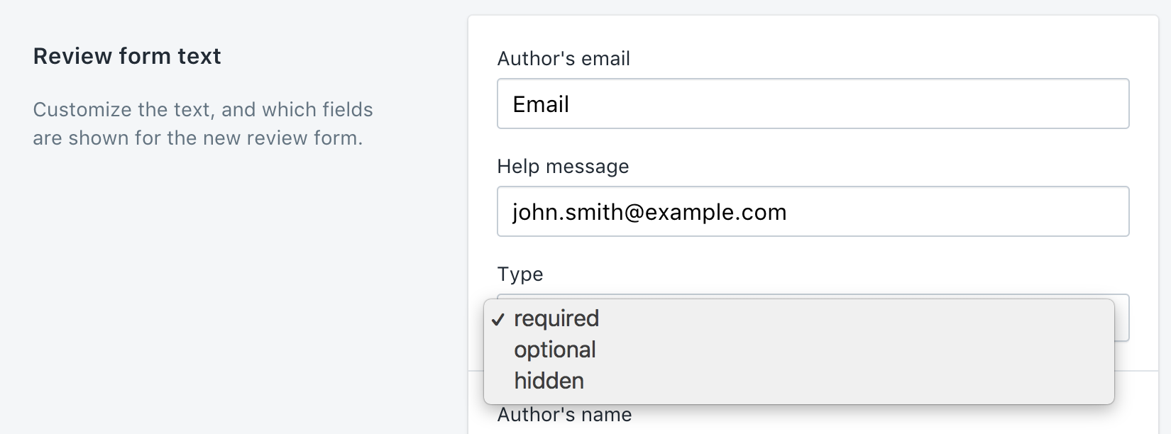 Select type for form fields