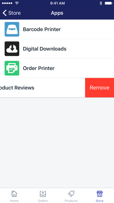Apps screen with Remove button beside an app — Shopify for iPhone