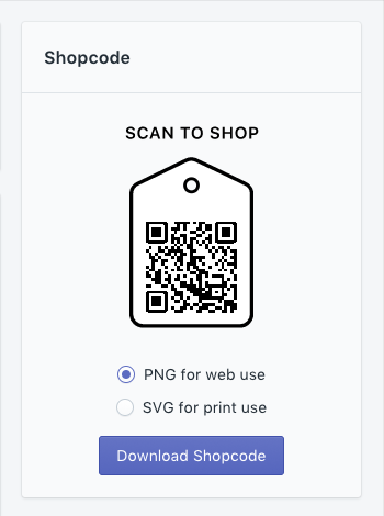 QR and download options in the Shopcode section