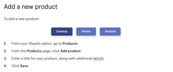 Shopify-app - knoppen op sectieniveau