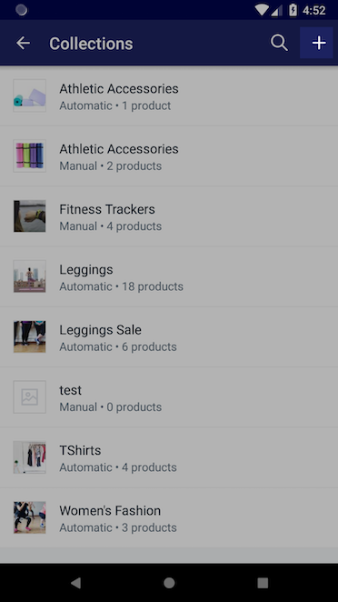 + button on the Collections screen — Shopify for Android