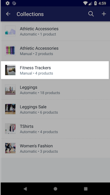 List of collections — Shopify for Android