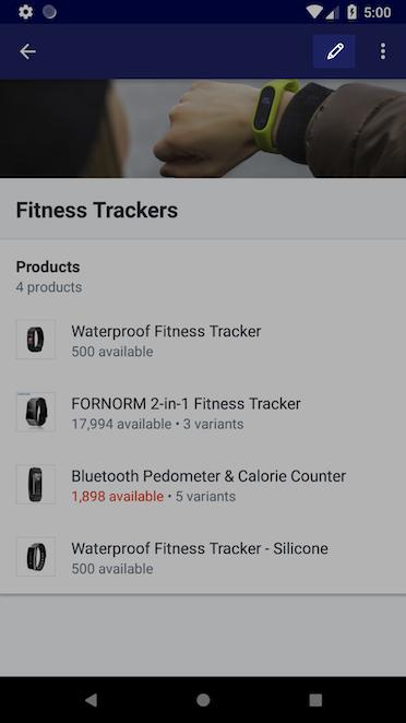 Bouton Modifier à l'écran de collection manuelle — Shopify pour Android