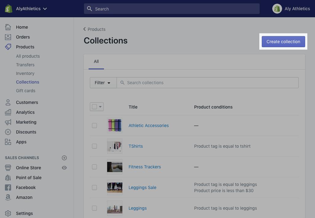 Create collection button on desktop
