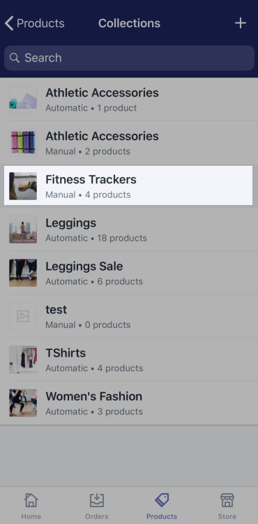List of collections — Shopify for iPhone