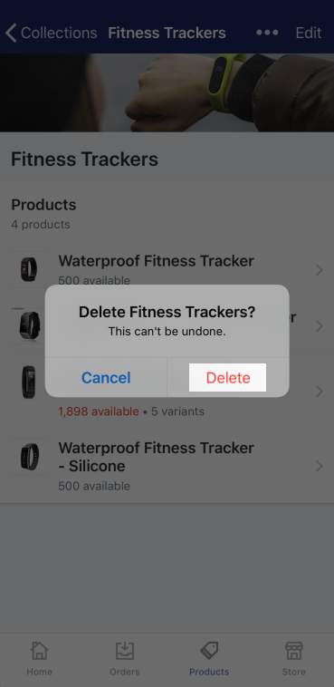 Delete confirmation button — Shopify for iPhone