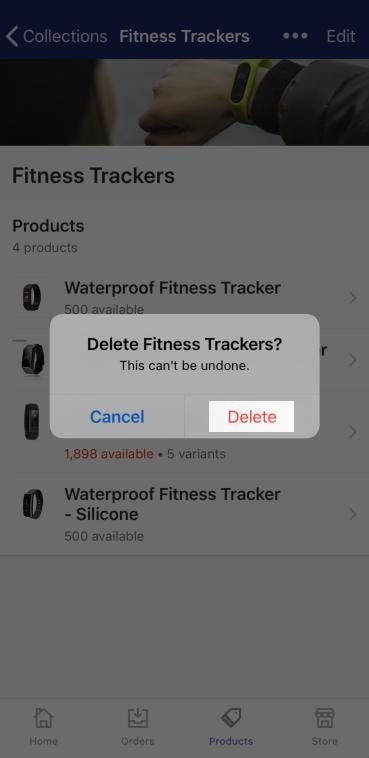 確認刪除按鈕 — iPhone 版 Shopify