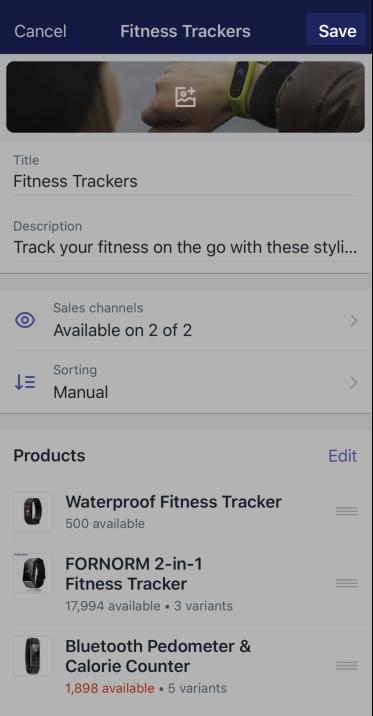 儲存按鈕 — iPhone 版 Shopify
