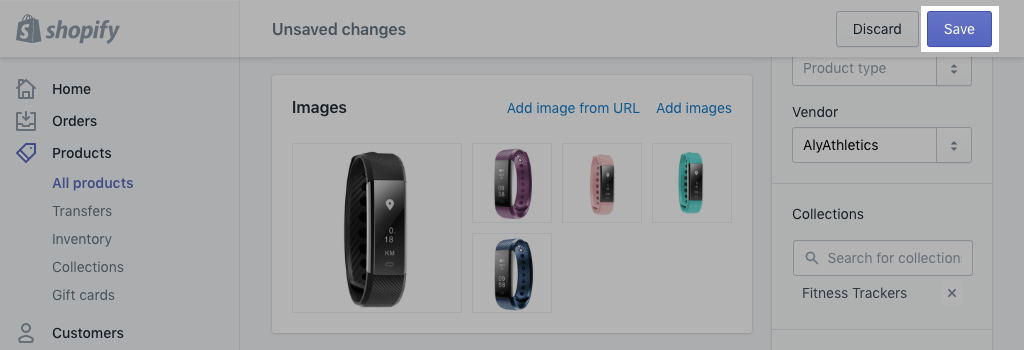 Save product details button on desktop