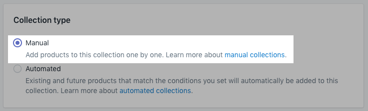 Section to choose collection type on desktop