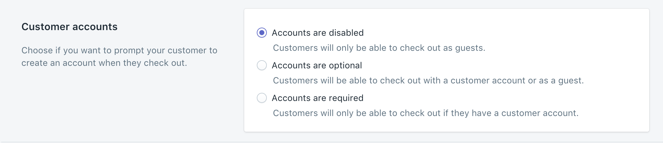 Checkout settings for customer accounts