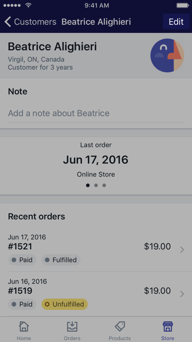 Edit button on customer screen — Shopify for iPhone