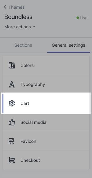 Cart settings