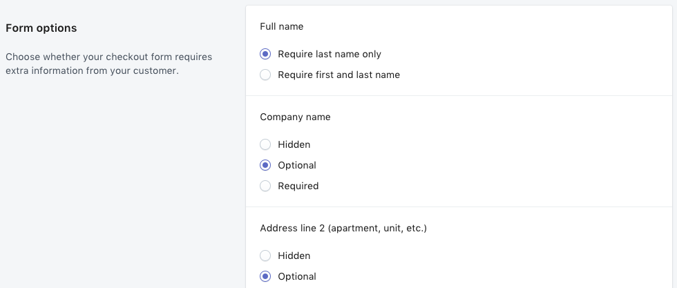 Shopify - Impostazione dei campi del modulo di check-out