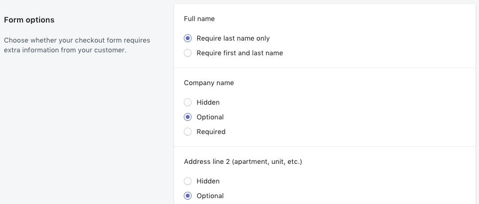 Shopify - checkout form field settings