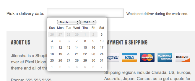 Add a delivery date picker to your cart · Shopify Help Center