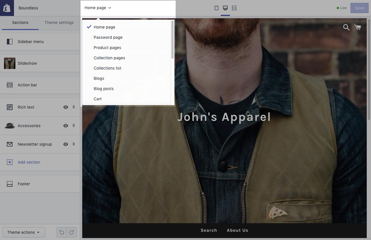 Theme editor top bar drop-down menu