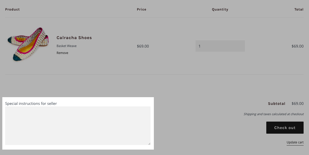 Enable order notes on your cart page · Shopify Help Center