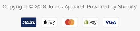 Choose which payment icons show in your footer · Shopify