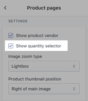 Show quantity selector
