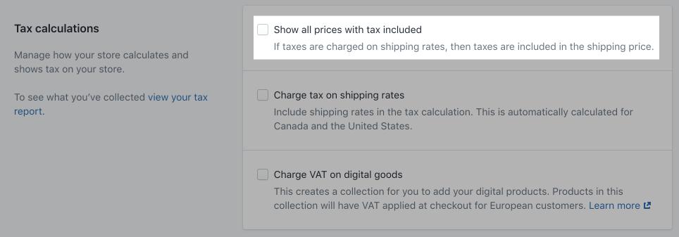 Tax calculation control panel