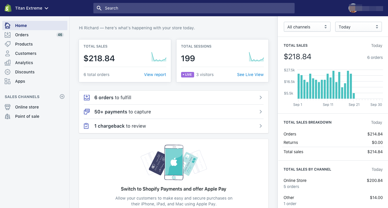 Startsiden i Shopify