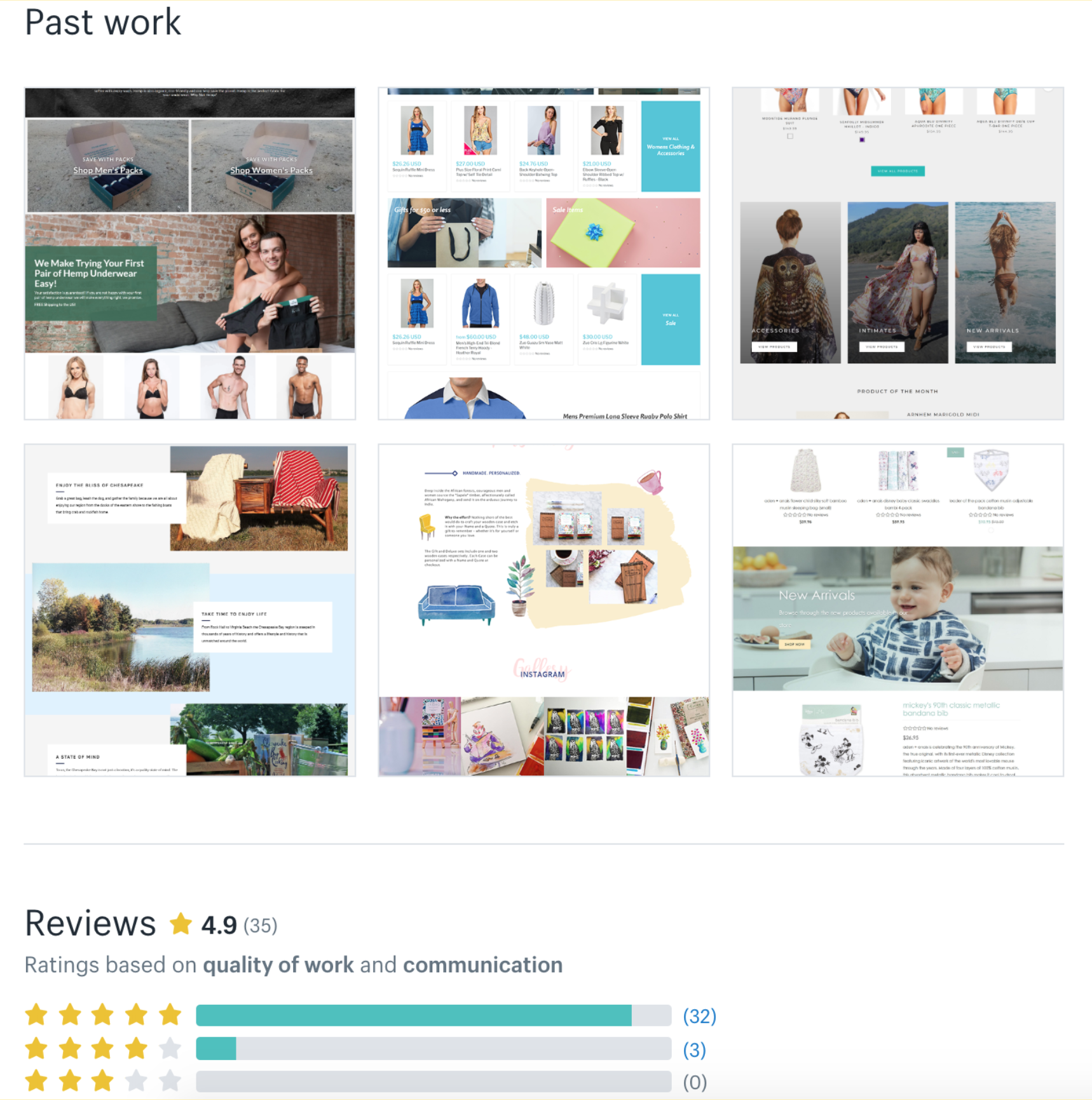 Image that shows an example of the Past Work and Reviews section of an Expert profile in the marketplace