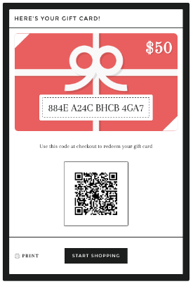 Example of an online gift card