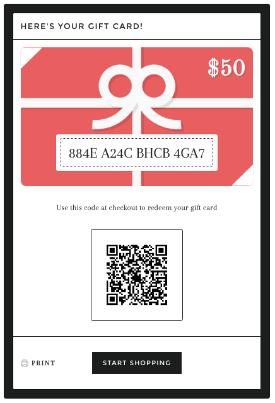 Eksempel på et gavekort på nettet