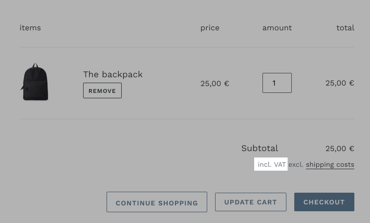 Tax info on the cart page