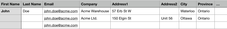 Customer CSV file with multiple addresses