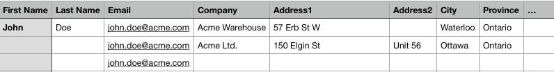 Archivo CSV de cliente con múltiples direcciones