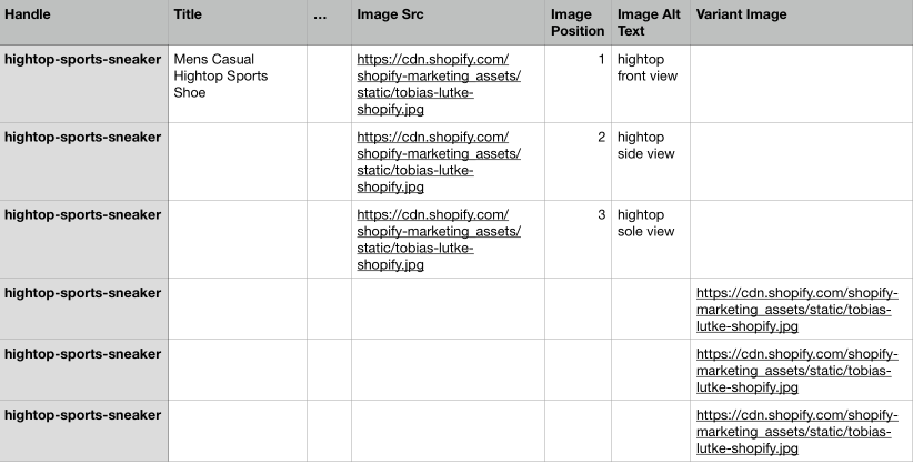 Capture d'écran d'un produit comportant plusieurs images et plusieurs variantes de produit