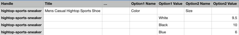 Schermafbeelding van een product met meerdere varianten