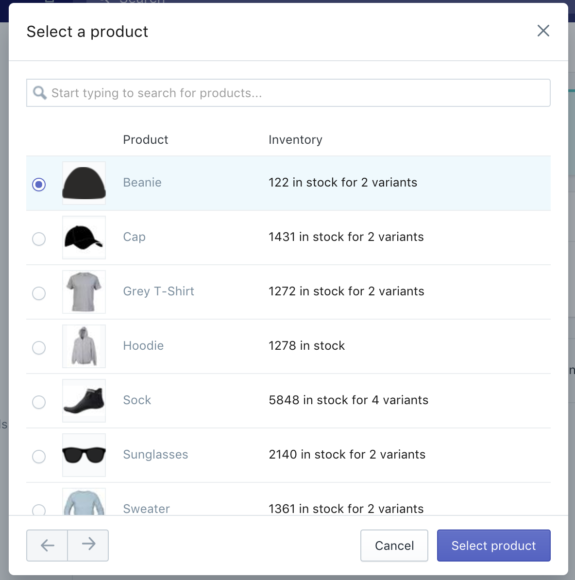 Select product button