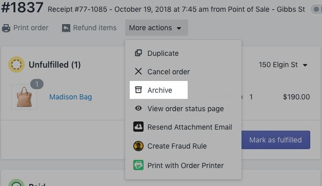 Menú Archivo - Panel de control de Shopify