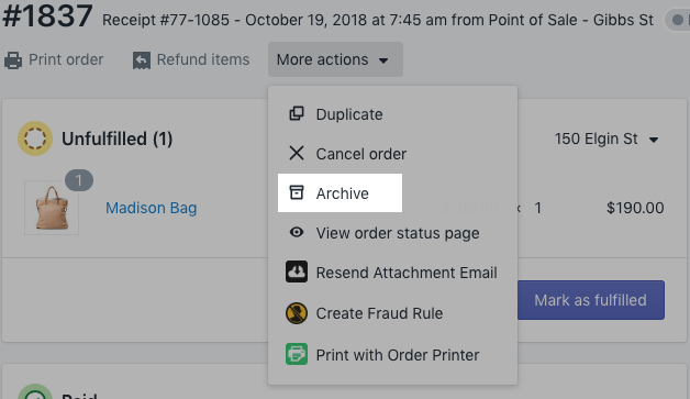 Menu Archiver - interface administrateur Shopify