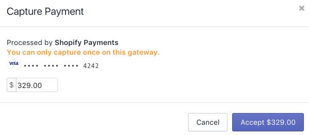 Shopify - captura de edição de pagamento