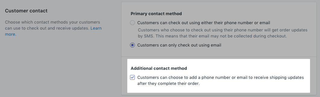 Order update opt in setting