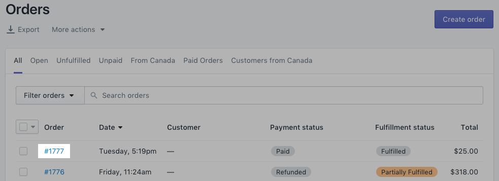 Klik op het bestelnummer