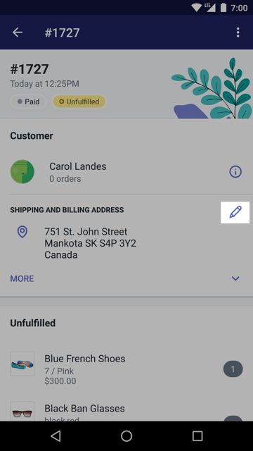 Order details Edit button — Shopify for Android