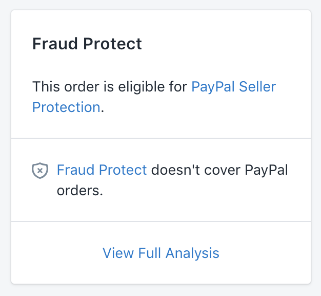 PayPal seller protection card