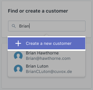 Order - create customer