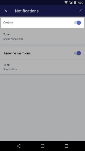 Notifications screen — Shopify app for Android