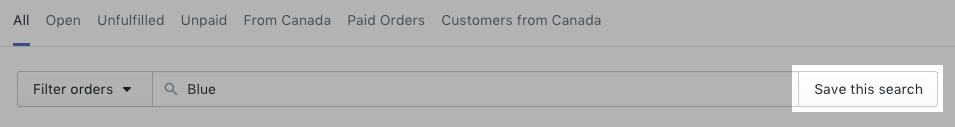 Een zoekopdracht voor bestellingen opslaan
